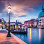 Fantastic spring sunrise in Venice with Church of San Simeone Piccolo. Colorful evening scene in Italy, Europe. Magnificent Mediterranean landscape. Traveling concept background.